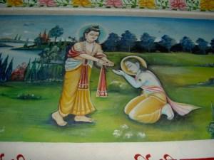 Shri Narada Muni gives Shri Radha Sarveshvara Shaligram Bhagavan to Shri Nimbarkacharya