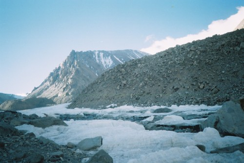 one of the many frozen rivers and glaciers we had to cross by foot.