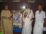 Shri Sadgurudev Ji Maharaj with the present Mahant and other Guru-brother Shri Shyam Sharan Babaji, of the Vrindavan Golok Dham Ashram.