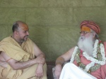 Shri Sadgurudev Ji Maharaj and Swami Shri Gurusharananand Ji engaged in Bhagavat Charchaa