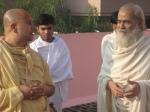 Jagadguru Nimbarkacharya Shri Shriji Maharaj and Shri Sadgurudevji Maharaj on their morning walk