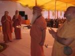 Swami Shri Gurusharananand Ji performing Aarti to Shri Nimbark Bhagavan with Shri Sadgurudev Ji Maharaj, Shri Bodhinatha Swamiji & Shri Palaniswamiji