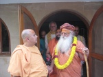 Swami Shri Gurusharananand Ji Maharaj & Shri Sadgurudev Ji Maharaj with Shri Jagadanand Das Ji in the background