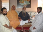 Shri Sadgurudev Ji Maharaj with Shri Yugal Sharan Ji Maharaj, his main disciple Shri Adhikariji and another of his senior disciples at Paat Naaraayan Dham, Abu Road, Rajasthan
