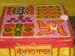 Shri Ganesh-Gauri Mandal, with 16 Matrikas, 8 Chiranjivis, 5 Omkaar, 8 Mahabhagavats