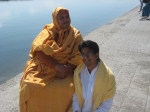 Shri Sadgurudev Ji Maharaj with a devotee after morning bath in Ganga Ji