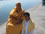Shri Sadgurudev Ji Maharaj with a devotee after morning bath in Ganga Ji