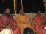 Swami Shri Arjun Puri Ji, Shri Sadgurudev Ji Maharaj and Swami Swaroopanand Ji during Satsang