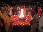 Devotees and the lit Deepaka Archana for Lord Shri Sharaneshvara Mahadev on Mahashivaratri Night
