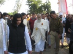 Jagadguru Nimbarkacharya Shri Shriji Maharaj Ji being led to the main stage